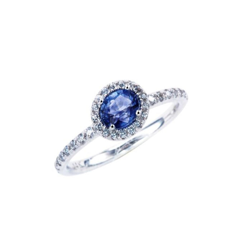 Oval Blue Sapphire (small size) Halo Ring