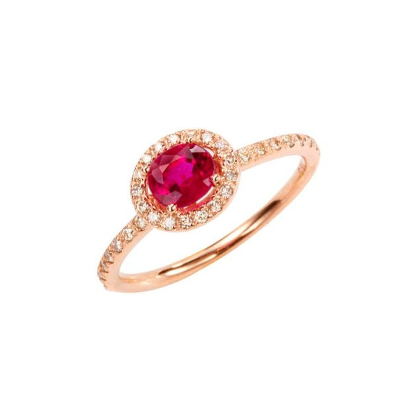Oval Ruby (0.65ct) Halo Ring
