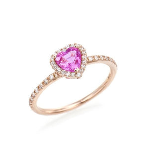 Heart Pink Sapphire Halo Ring