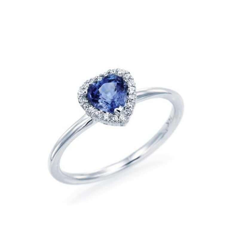 Blue Sapphire Heart Simple Halo Ring