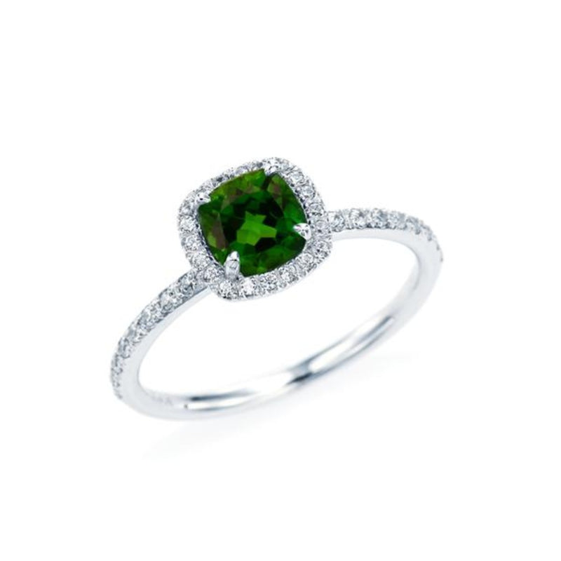 Cushion cut Chrome Diopside (small size) Halo Ring