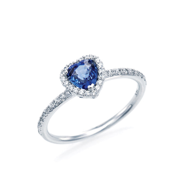 Blue Sapphire Heart Halo Ring