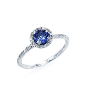 Round Blue Sapphire Halo Ring