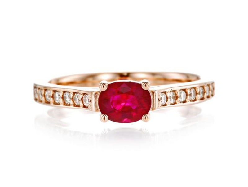 Oval Ruby Simple Ring