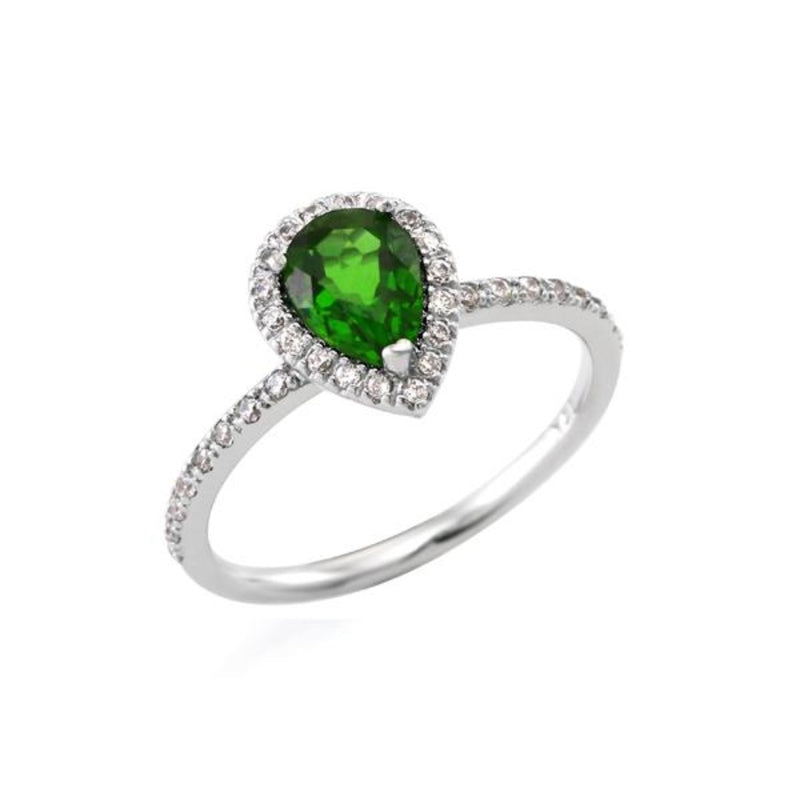 Pear cut Chrome Diopside Halo Ring