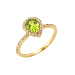 Pear Cut Peridot Halo Ring