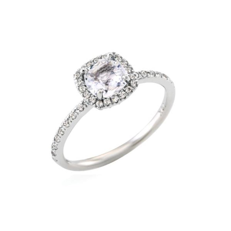 Cushion Cut White Sapphire Halo Ring