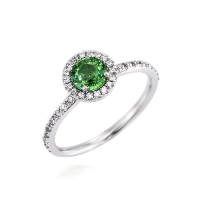 Round Green Sapphire Halo Ring