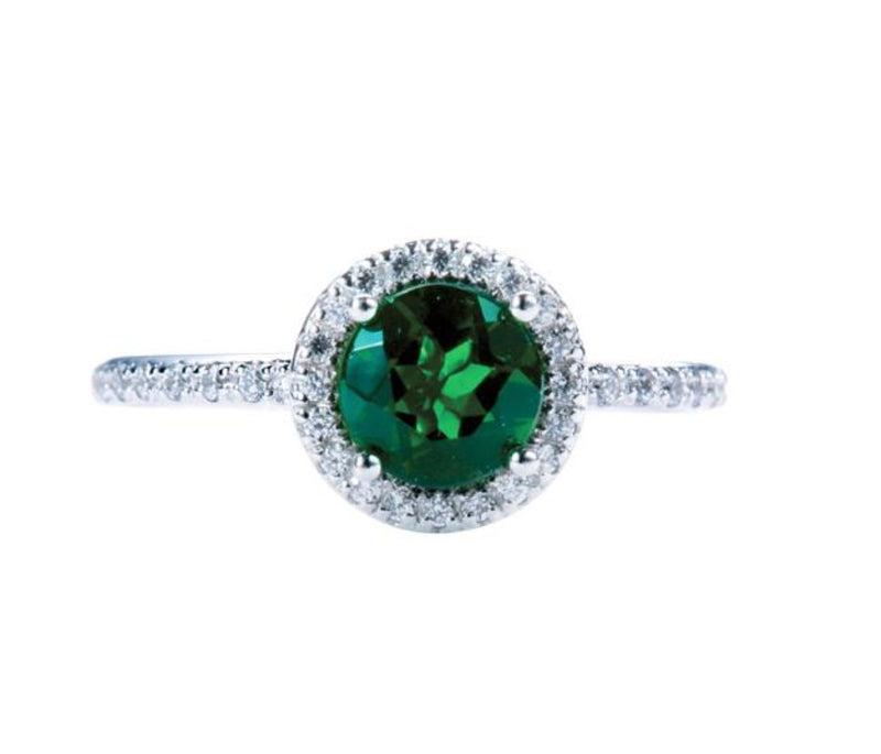 Round Chrome Diopside Halo Ring