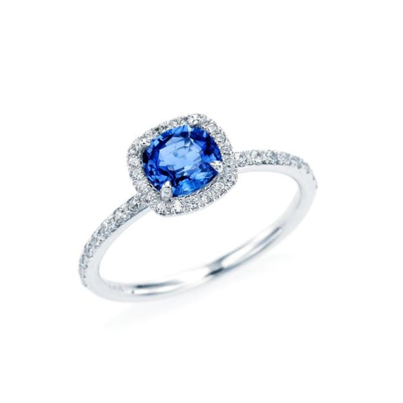 Cushion Cut Blue Sapphire Halo Ring