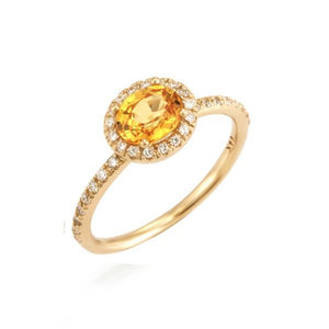 Oval Yellow Sapphire Halo Ring