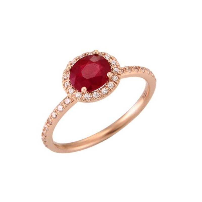Oval Ruby (0.80ct) Halo Ring