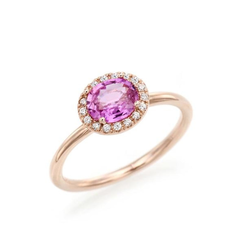 Oval Pink Sapphire Simple Halo Ring