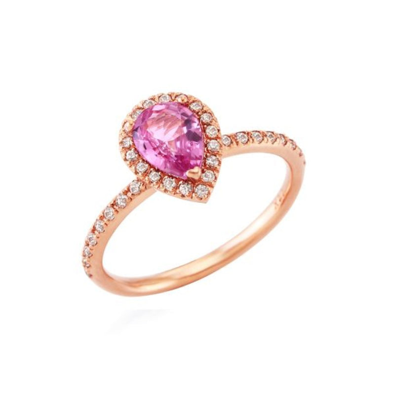 Pear Cut Pink Sapphire Halo Ring