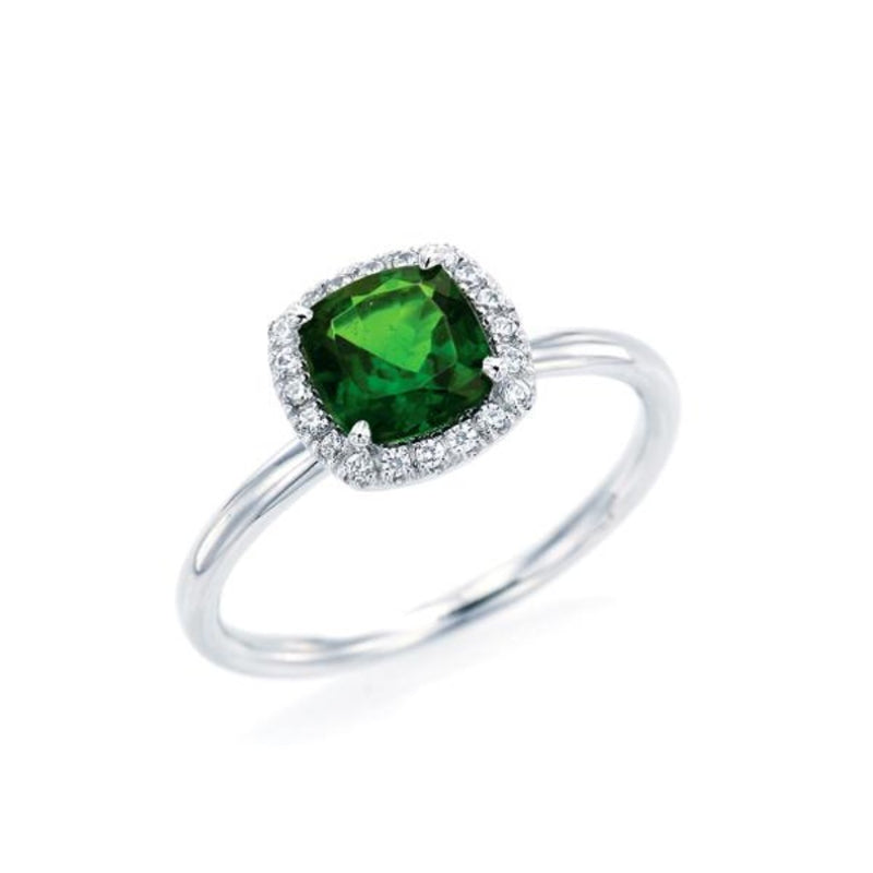 Cushion Cut Chrome Diopside Simple Halo Ring