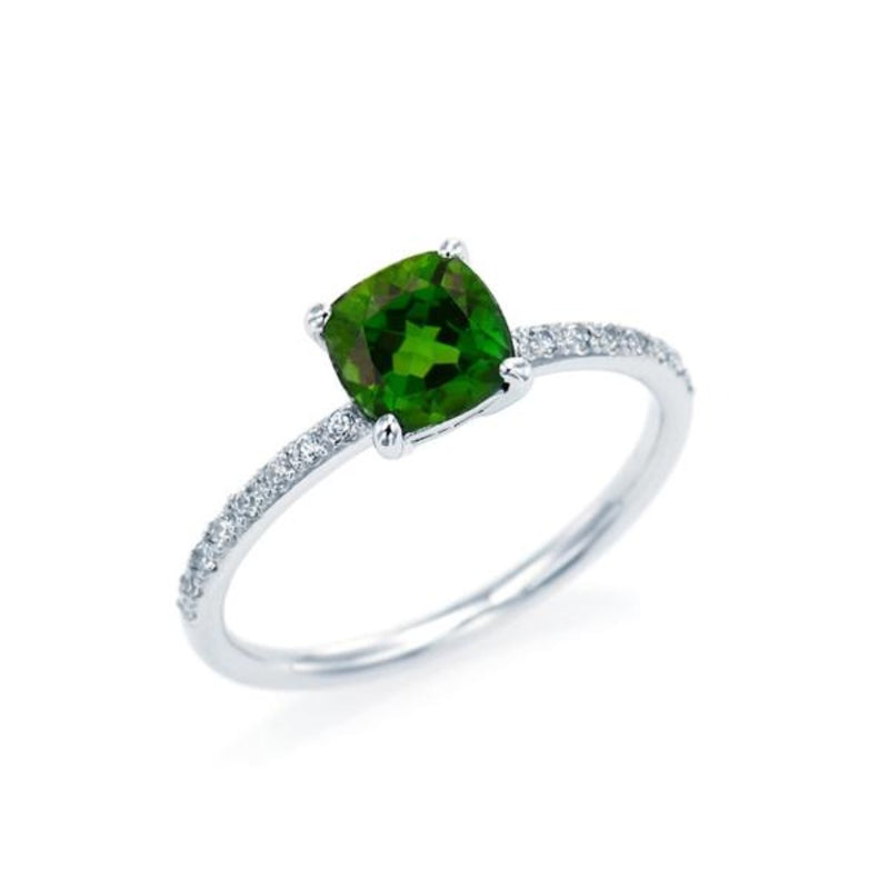 Cushion Cut Chrome Diopside Ring