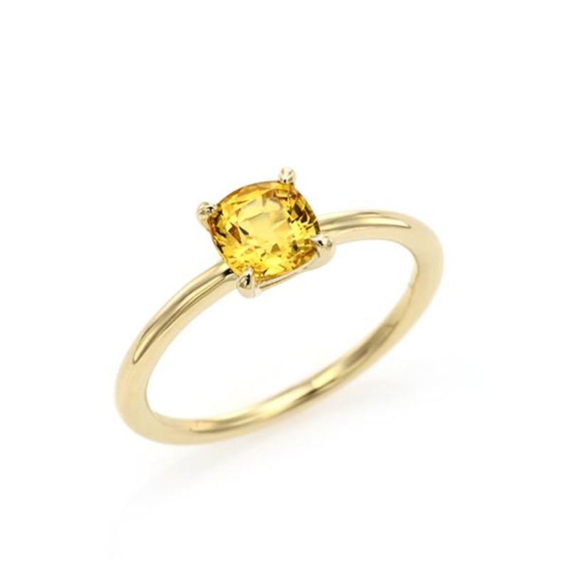 Cushion Cut Yellow Sapphire Simple Ring