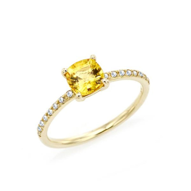 Cushion Cut Yellow Sapphire Ring