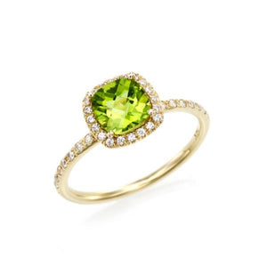Cushion Cut Peridot Halo Ring