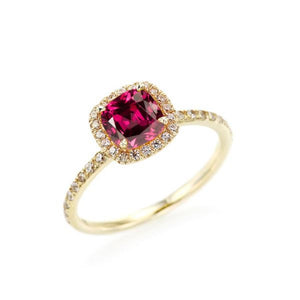 Cushion Cut Rhodolite Halo Ring