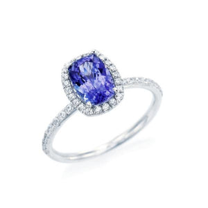 Vertical Cushion Cut Tanzanite Halo Ring