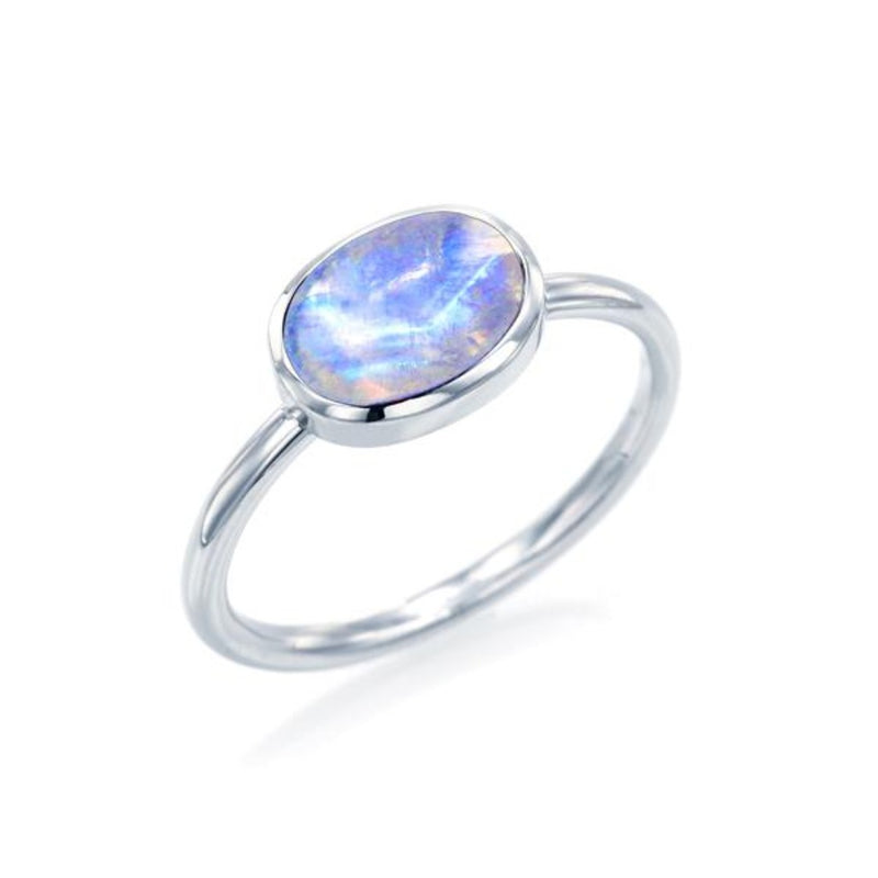 Cabochon Cut Blue Moonstone Ring