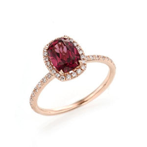 Vertical Cushion Cut Rhodolite Garnet Halo Ring