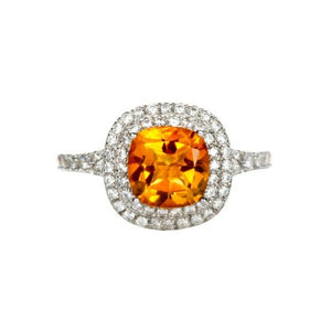 Cushion Cut Citrine Double Halo Ring