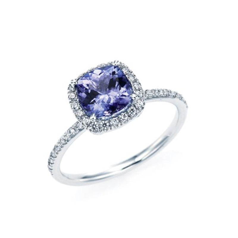 Cushion Cut Tanzanite Halo Ring