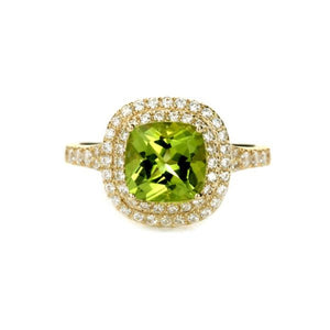 Cushion Cut Peridot Double Halo Ring