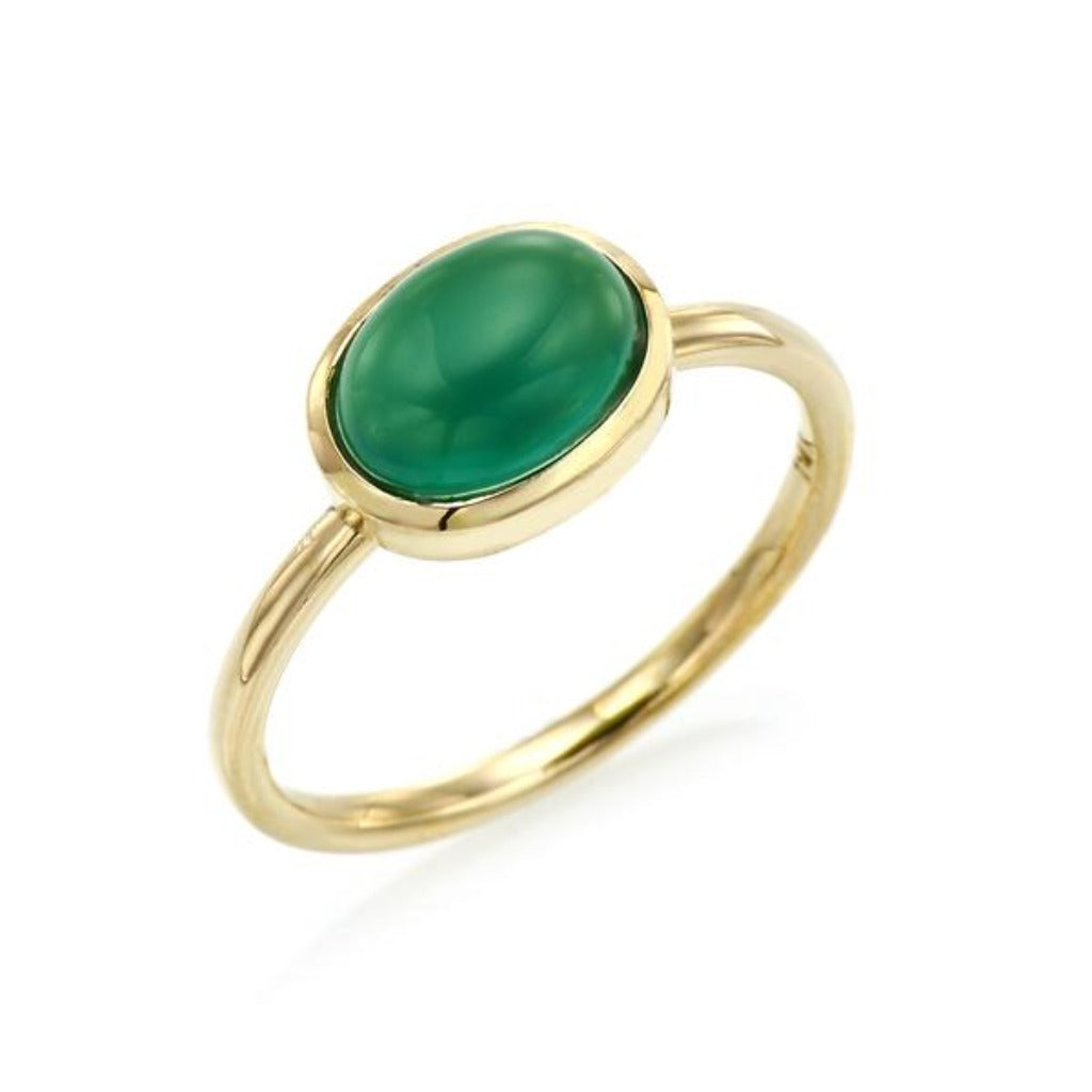 Cabochon Cut Green Chalcedony Ring