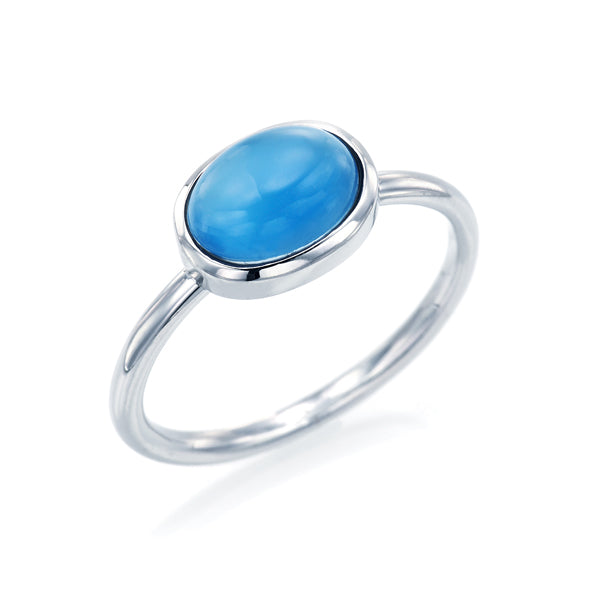 Cabochon Cut Blue Chalcedony Ring