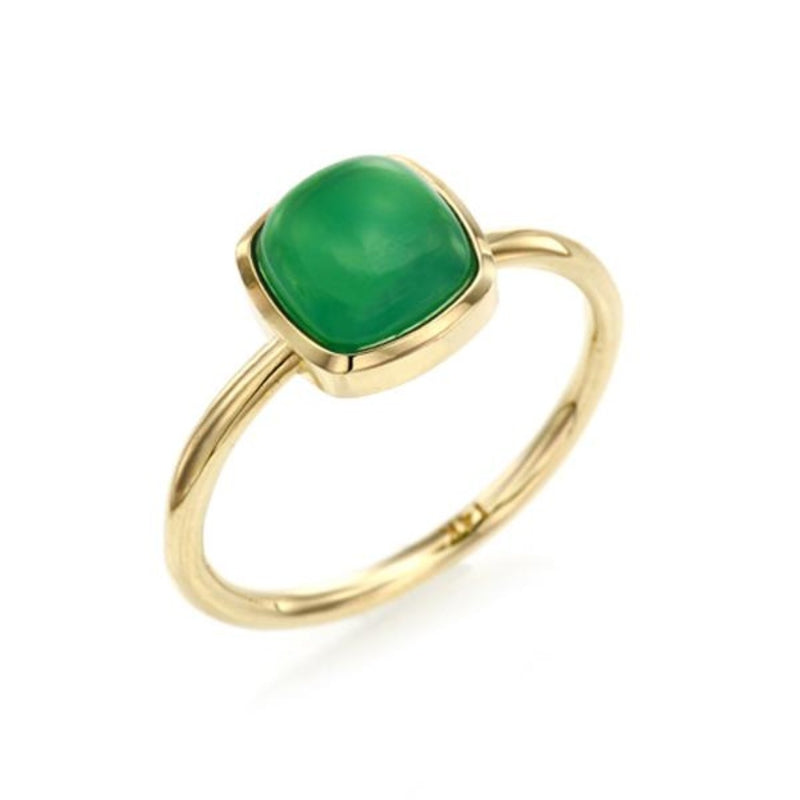 Cushion Cabochon Cut Green Chalcedony Ring