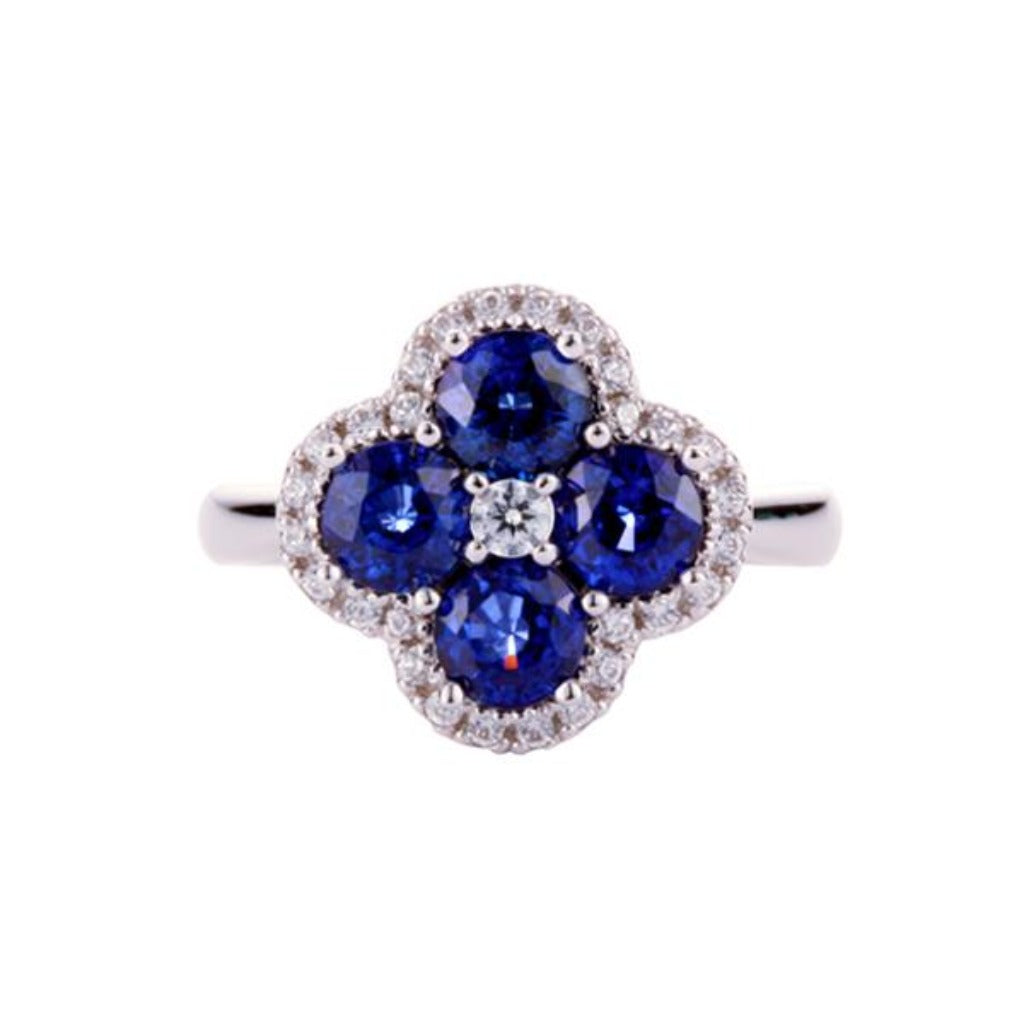 Flower Design Diffusion Sapphire Ring