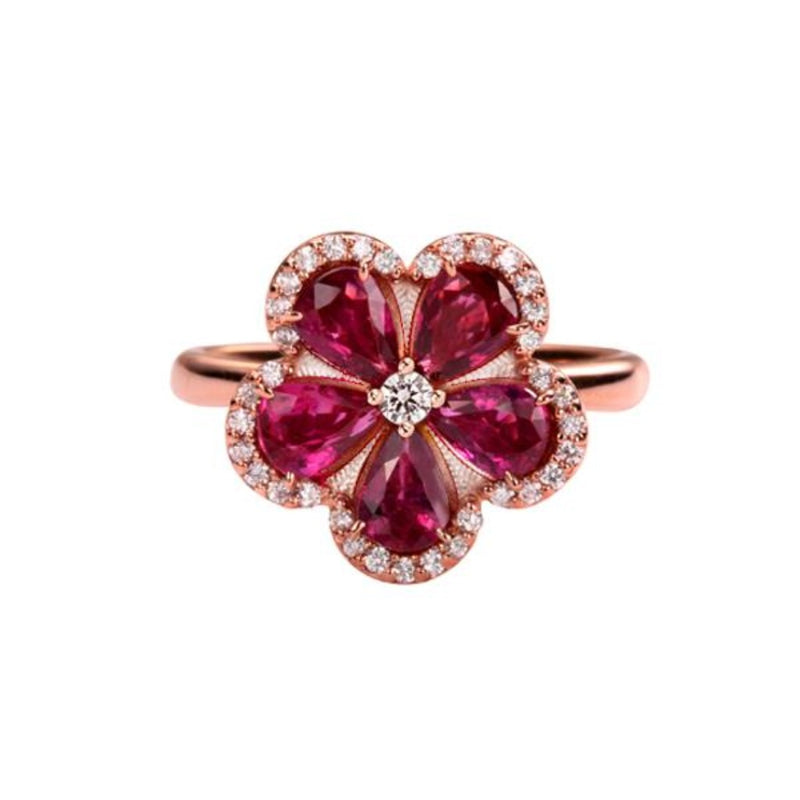 Five Leaves Flower Design Ruby Ring