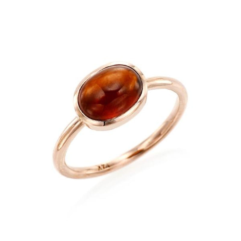 Cabochon Cut Hessonite Ring