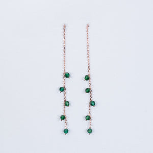 Green onyx pull through earrings