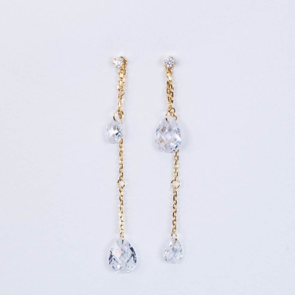 Natural crystal two-way earrings