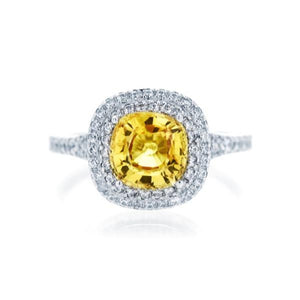 Cushion Cut Yellow Sapphire Double Halo Ring