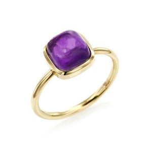 Cushion Cabochon Cut Amethyst Ring