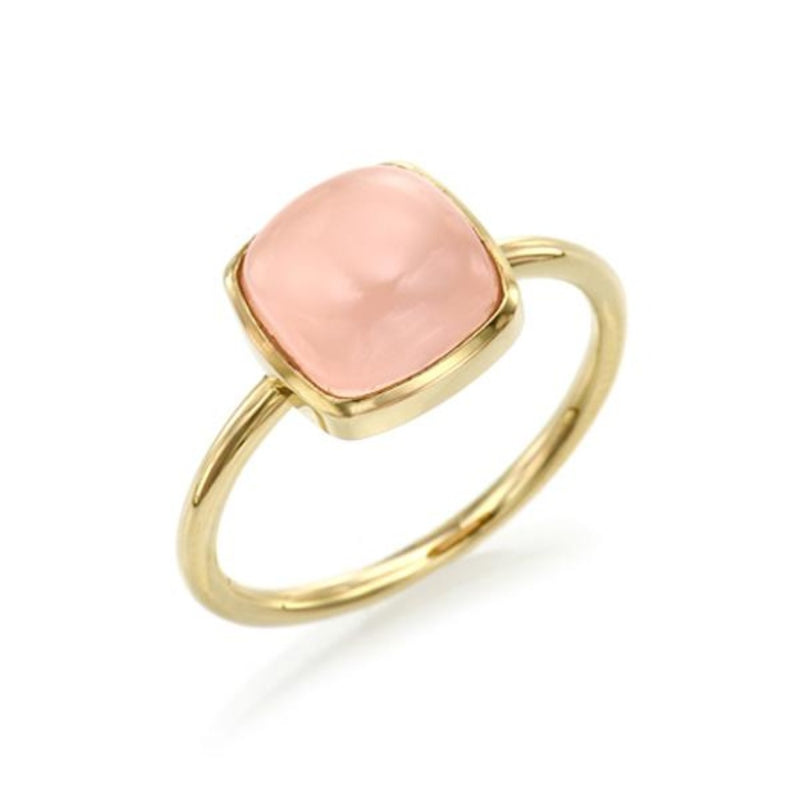 Cabochon Cut Rose Chalcedony Ring