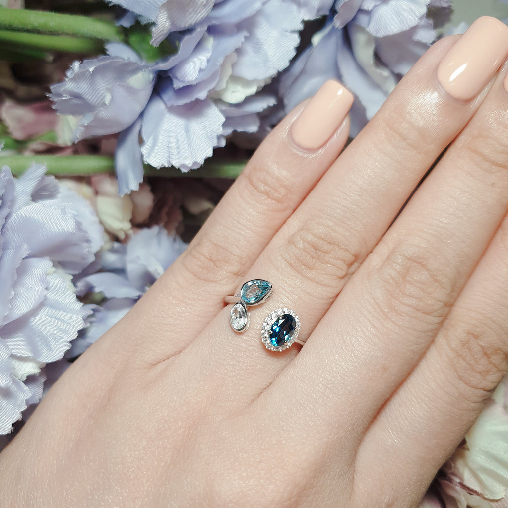 London Blue Topaz, Top Sky Blue Topaz, White Topaz Ring