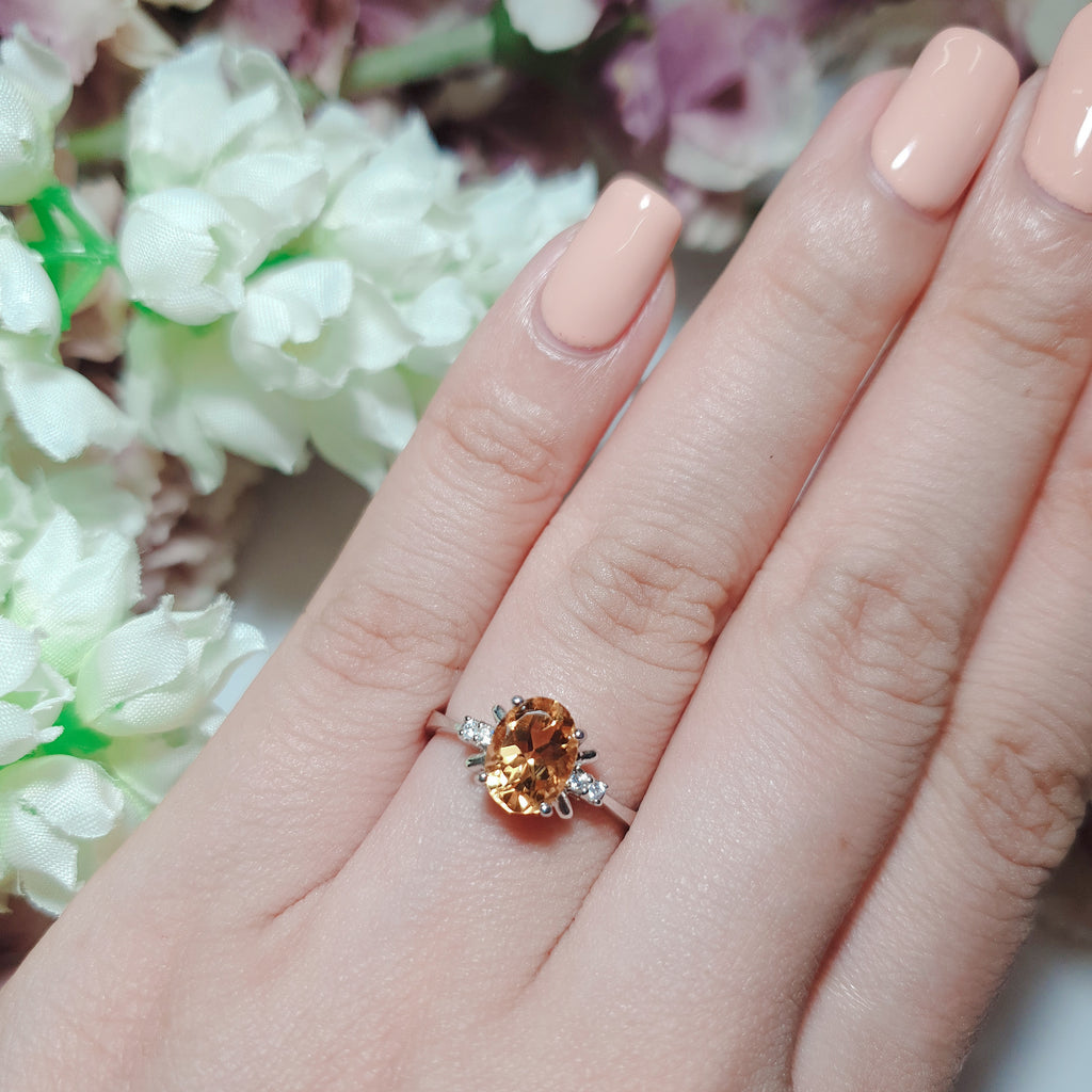 Citrine Ring; Simple Ring