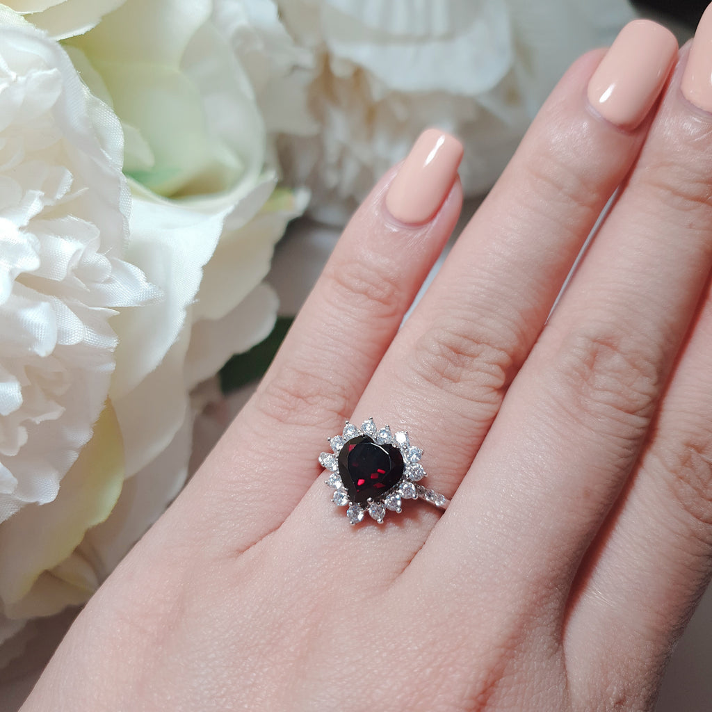 Garnet halo design heart ring