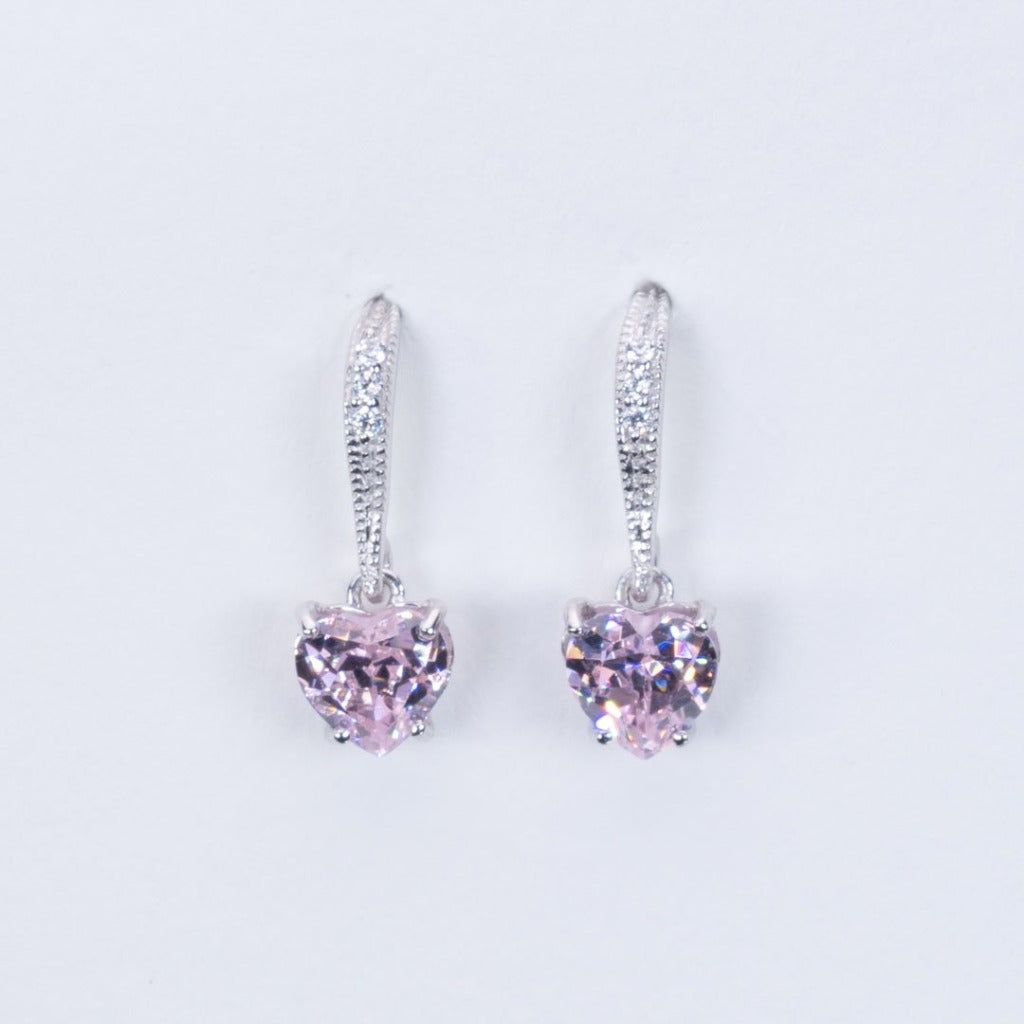 Fish hook pink quartz fine earrings