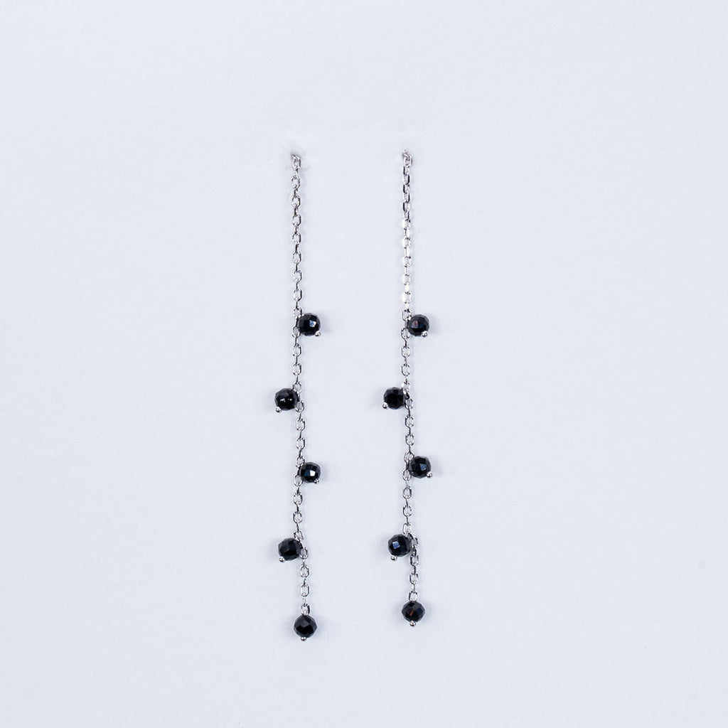 Black Diamond pull through earrings