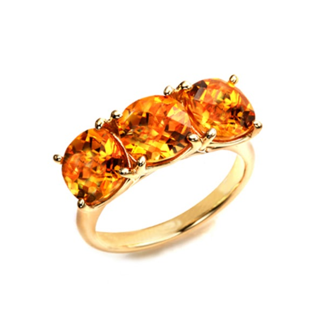 3-Stone Cushion Citrine Ring