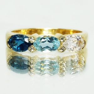 London blue topaz, top sky blue topaz and white topaz aligned ring