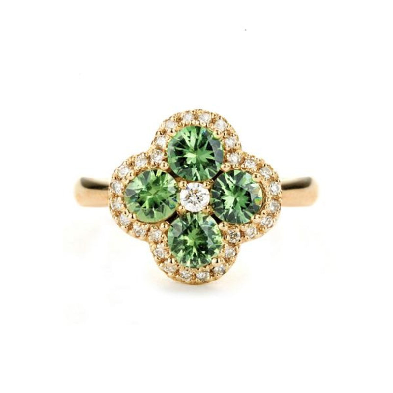 Flower Design Demantoid Garnet Ring