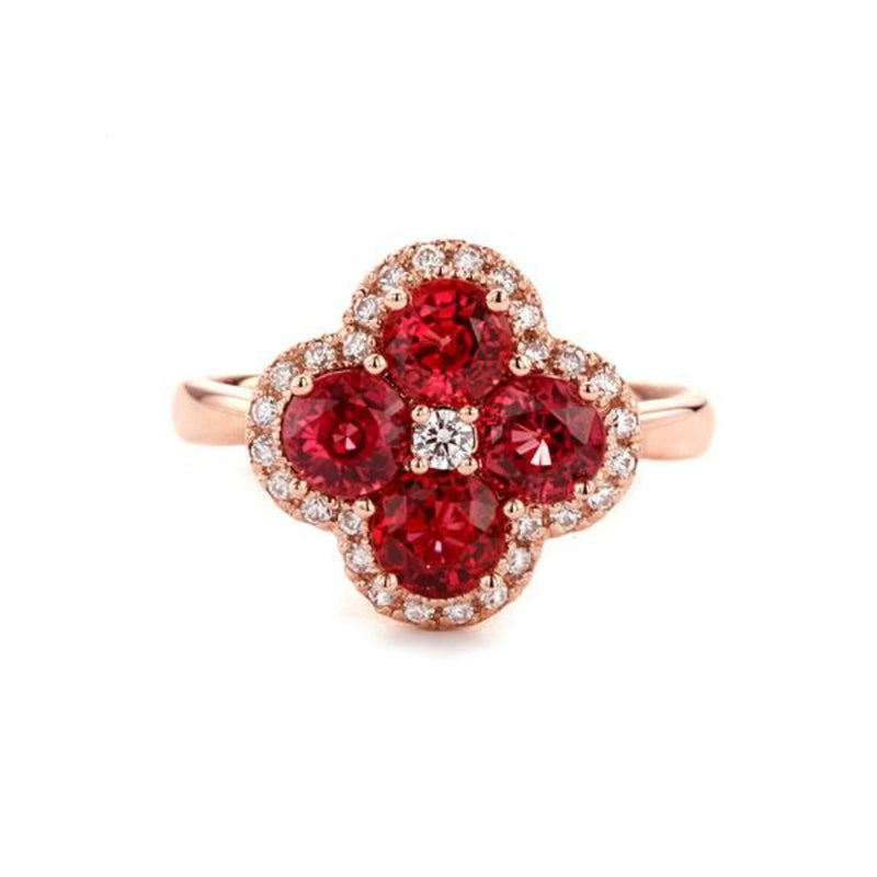 Flower Design Ruby Ring